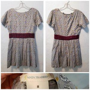 High-Waist Patterned Floral Mini Dress